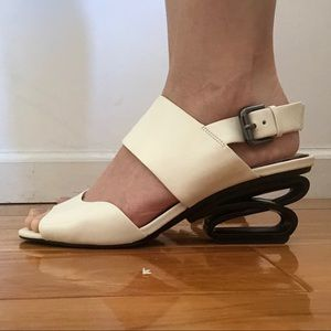 Off white leather sandals with architectural heel